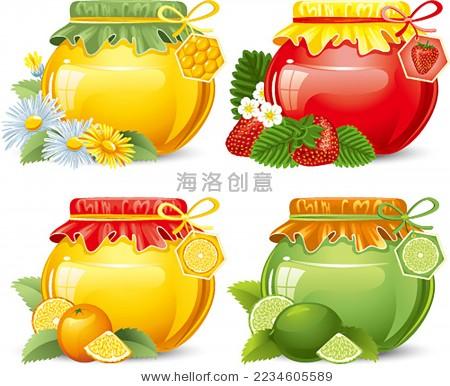 蜂蜜罐子矢量图-背景/素材,食品及饮料-海洛创意()-合