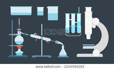 化学实验器材试管烧瓶显微镜矢量素材