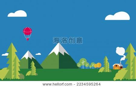 森林自然风光扁平化矢量背景图-背景/素材