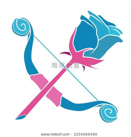 玫瑰花爱神的弓箭矢量图案