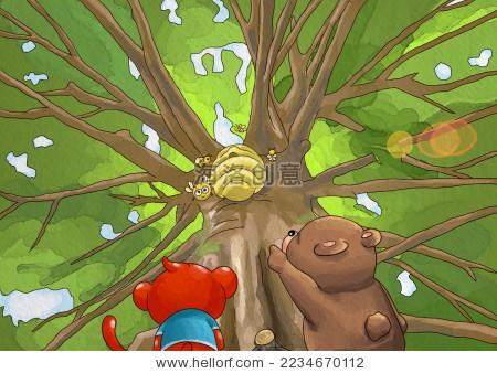 森林里猴子水彩插画