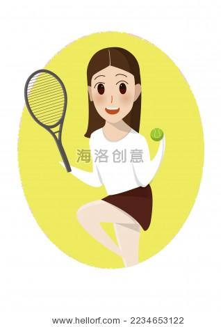 打网球的运动卡通女孩 - 人物,运动/娱乐活动 - 站酷