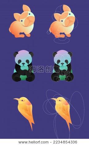 动物几何logo