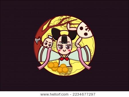 中秋节q版嫦娥玉兔形象设计
