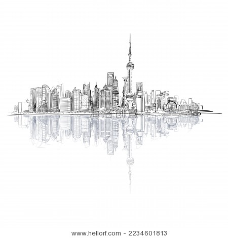 上海外滩手绘矢量图-建筑物/地标-海洛创意(hellorf)