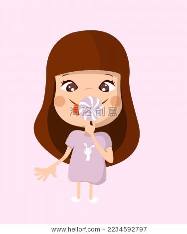 小女孩吃棒棒糖表情