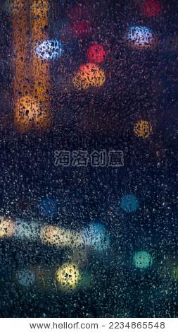 城市夜晚雨珠-背景/素材,艺术-海洛创意正版图片,视频