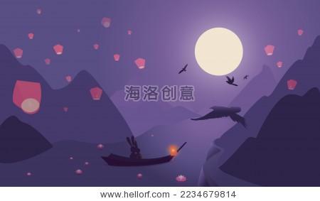 中秋节玉兔望月山水矢量图