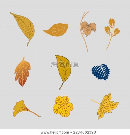 树叶leaf 树枝 矢量图 金色