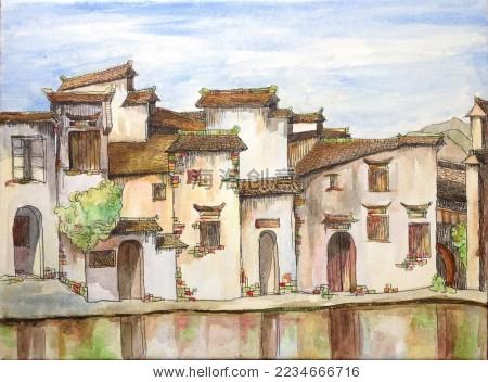 中国古镇 宏村 手绘 丙烯画 油画 国画 水彩画 水乡