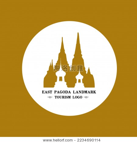 东南亚佛教建筑塔群 标志logo矢量素材