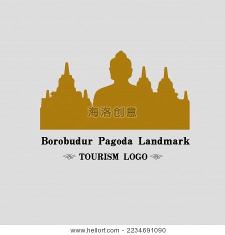东南亚佛塔 婆罗浮屠 标志logo矢量素材