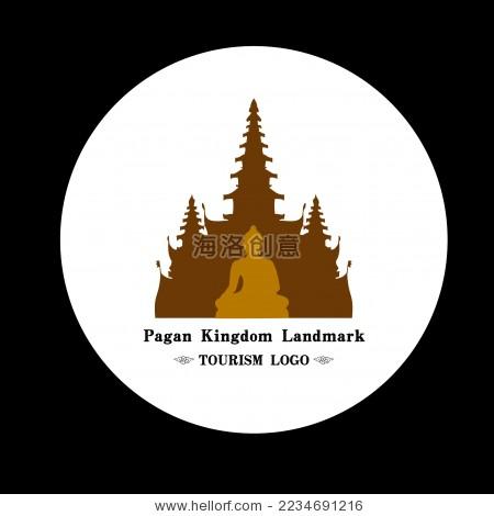 东南亚 缅甸 佛塔佛像矢量图案标志