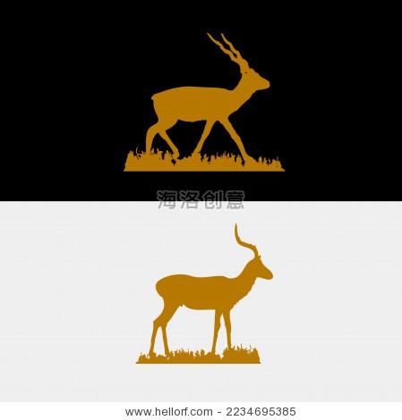 羚羊西藏手绘剪影矢量标志素材