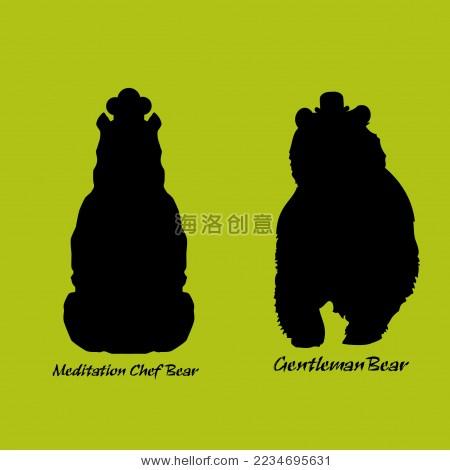 熊侠剑客卡通矢量剪影标志素材-动物/野生生物,符号