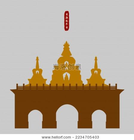 西藏佛塔 古迹 矢量标志logo矢量素材