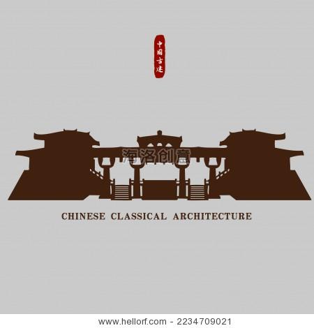 中国秦汉古建筑宫殿 矢量剪影