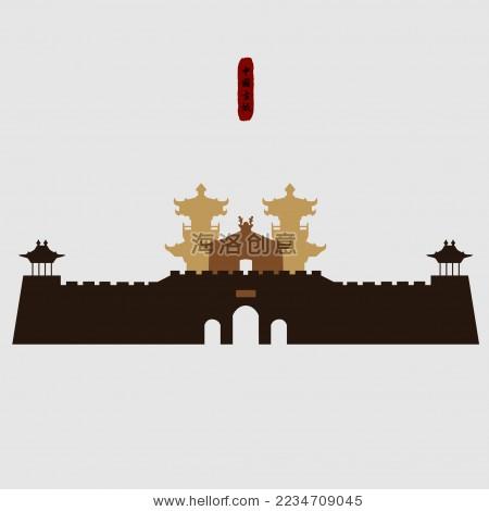 春秋荆楚 中国关口古建筑城楼 标志logo素材