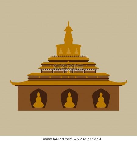 西藏佛塔 古迹 标志logo矢量素材