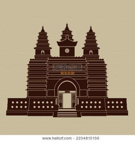 中国古典建筑 五塔寺 剪影矢量素材