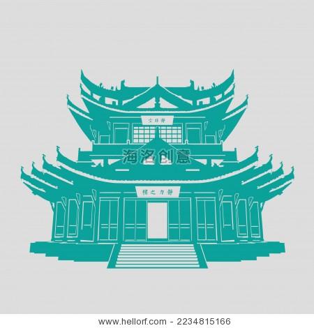中国古典建筑宫殿楼阁 剪影矢量