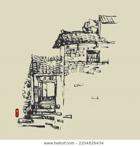 古村寨 古镇 手绘线稿矢量