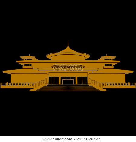中国古建筑宫殿 西安博物院矢量剪影