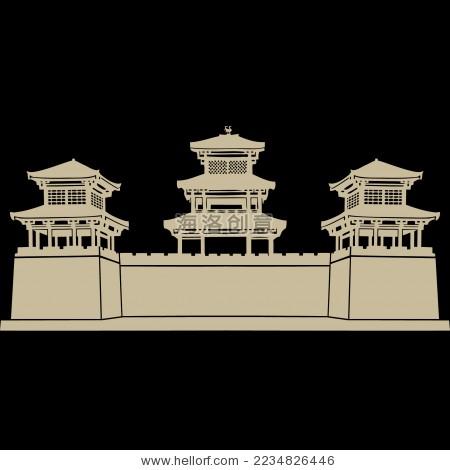 中国古典建筑宫殿 城楼 剪影矢量素材