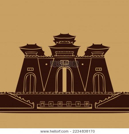 中国古典塔建筑宫殿 城楼 城门剪影矢量