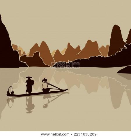 桂林山水 渔舟 倒影 水墨风景矢量剪影 - 背景/素材