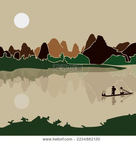 桂林山水 渔舟 倒影 水墨风景矢量剪影