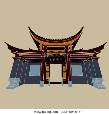 建水朱家花园 古典门楼建筑剪影矢量