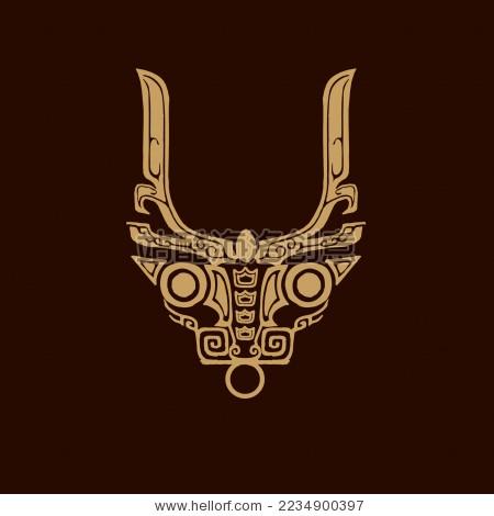 古典神兽图案 牛图腾矢量标志素材