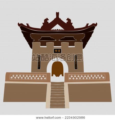 古典建筑 新绛古城钟楼塔 标志矢量素材
