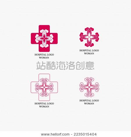 女性医疗 红十字 花矢量标志素材