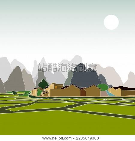 桂林田园村庄庭院 标志矢量素材