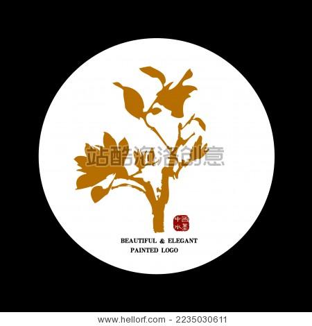 中国古典优雅 玉兰花杏枝手绘 水墨中国画 矢量剪影 标志logo元素
