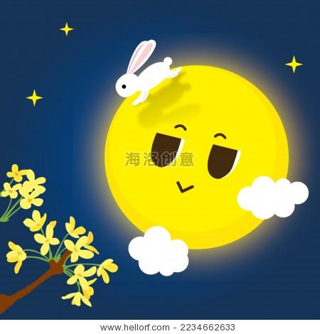 中秋节月亮与兔子赏桂花-假期,艺术-海洛创意(hellorf