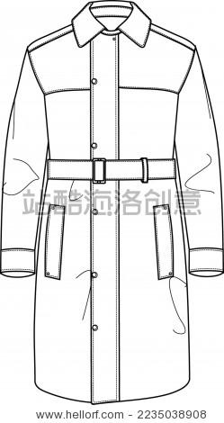 男士大衣长款风衣翻领大衣秋冬男装矢量款式图模板
