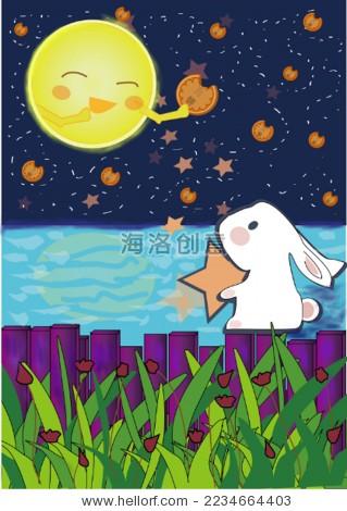 中秋节玉兔和月饼之约-艺术,假期-海洛创意(hellorf)图片