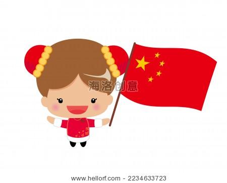 可爱的中国女孩子和中国国旗.卡通画