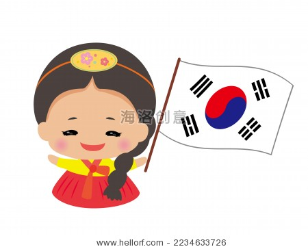 可爱的韩国女孩和韩国国旗.卡通画