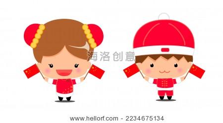 中国传统服装的男女小孩子和中国国旗.卡通画