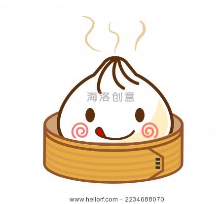 卡通画可爱的蒸笼和包子先生-食品及饮料-海洛创意()