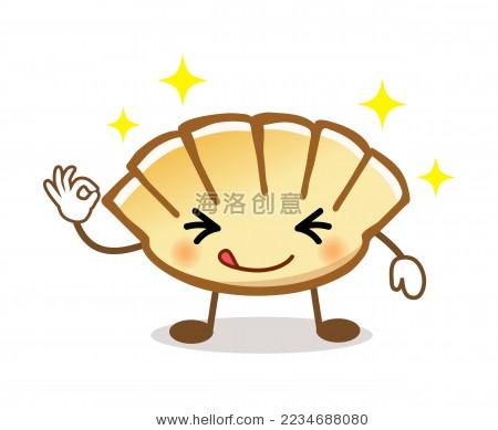 卡通画可爱的饺子先生-食品及饮料-海洛创意正版图片