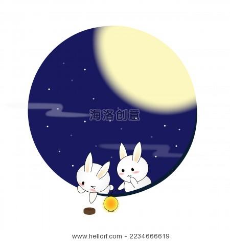 玉兔捞月饼中秋节趣味矢量插画