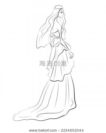 美丽婚纱 时尚插画线稿-人物 ,美容/时装服饰-海洛()