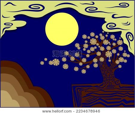 中秋节圆月和桂花矢量插画