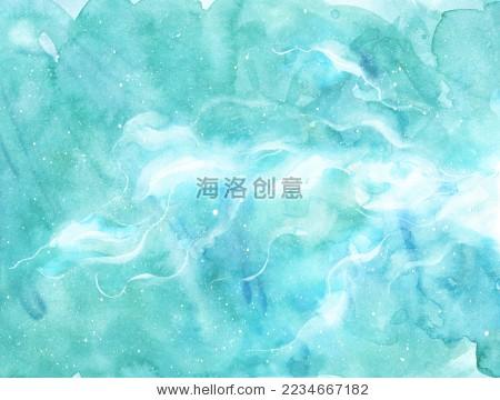 绿色清新梦幻水彩星空云层浪漫抽象天空背景