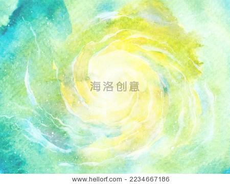 绿色清新梦幻水彩星空旋涡天空背景-背景/素材,抽象